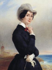 Portrait of Russian actress Vera Samoylova by Eugène Pluchart, 1840.