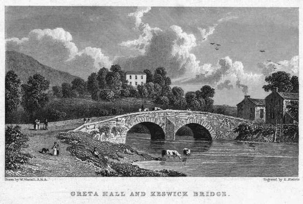 <emGreta Hall and Keswick Bridge by William Westall, 1840.