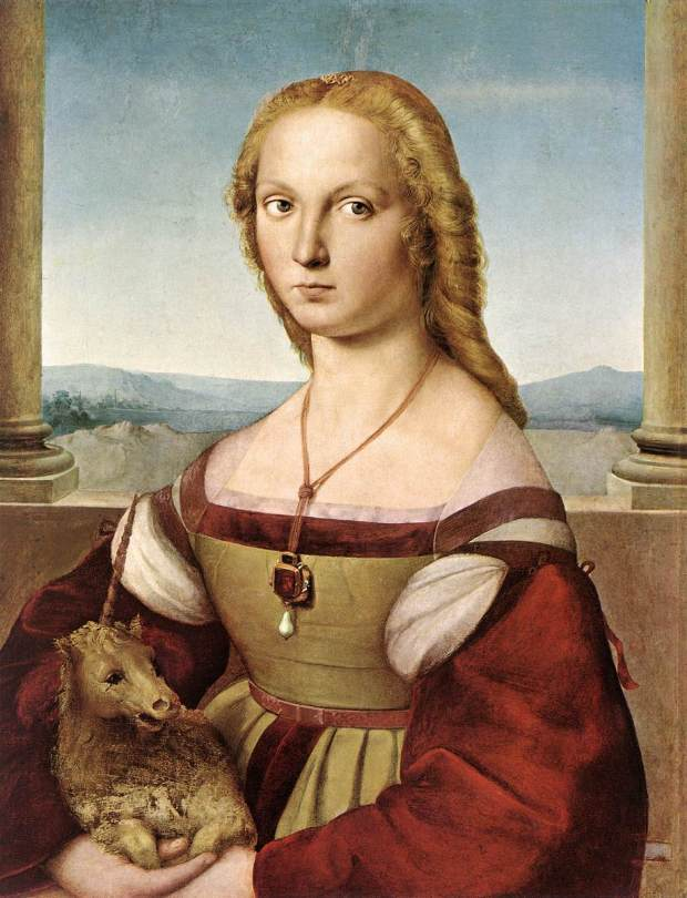 Portrait of a Young Lady with a Unicorn by Raphael Santi, 1505.