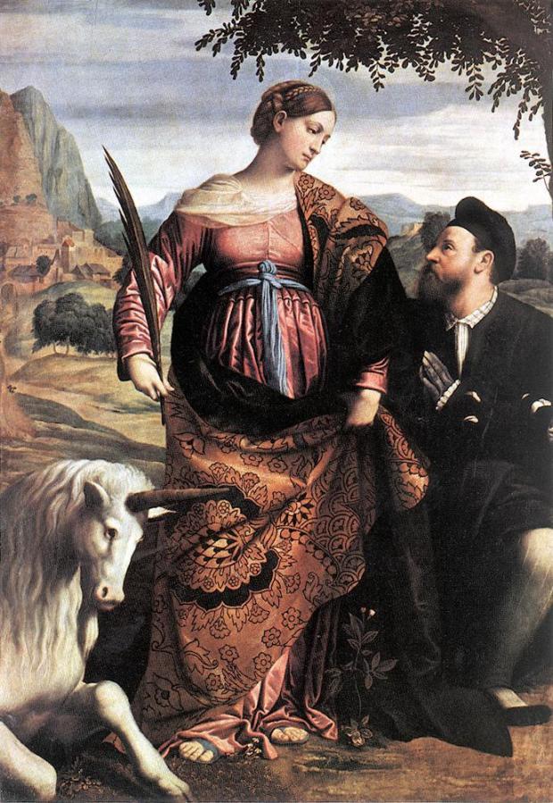 Saint Justina with the Unicorn by Moretto da Brescia, 1530.