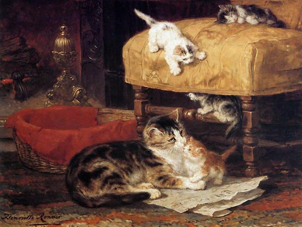 The Chimney by Henriette Ronner-Knip, (1821-1909).