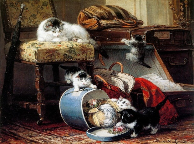 Unknown Title by Henriette Ronner-Knip, (1821-1909).