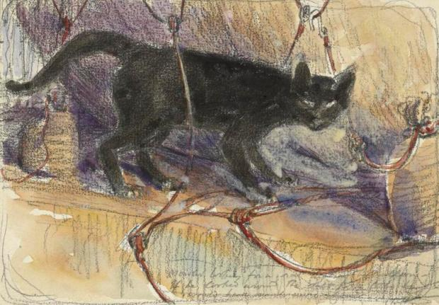 A depiction of Mowler, a black cat, a pet and mascot of HMS Manica, standing on a flat surface amongst the rope attachments of the ship's balloon, 1915.(Image via The Imperial War Museum.)