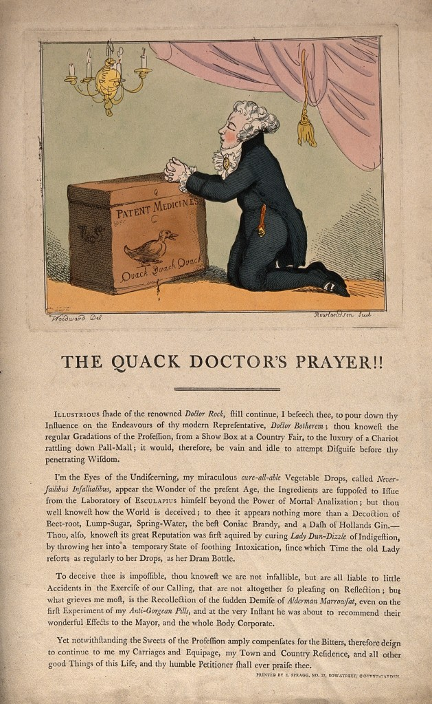 The Quack Doctor's Prayer by T. Rowlandson after G. Woodward, 1801. (Image Courtesy of The Wellcome Library, CC BY 4.0.)