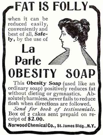 Advertisement for Obesity Soap, circa 1903.