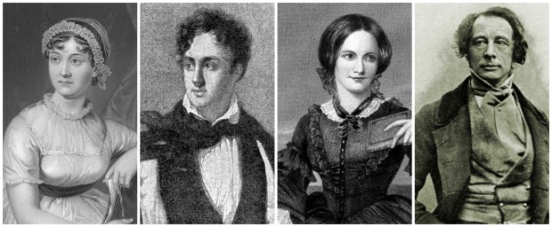 Austen, Byron, Bronte, and Dickens Black and White