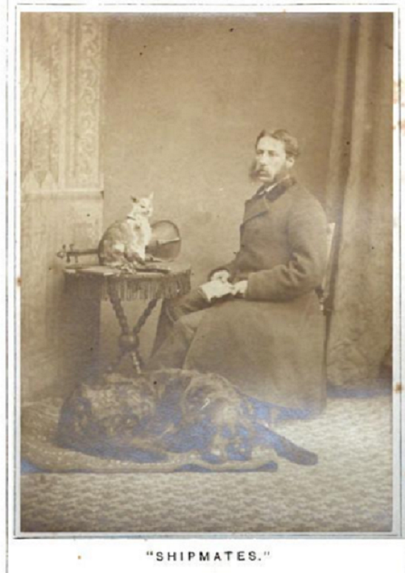 Dr. Gordon Stable with Ship's Cat and Dog, 1876.