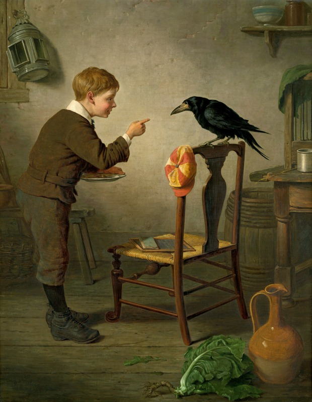 Boy With Raven by H.C., 1879.