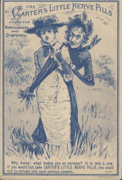 Carters Little Nerve Pill Advertisement, Circa 1870 - 1890.