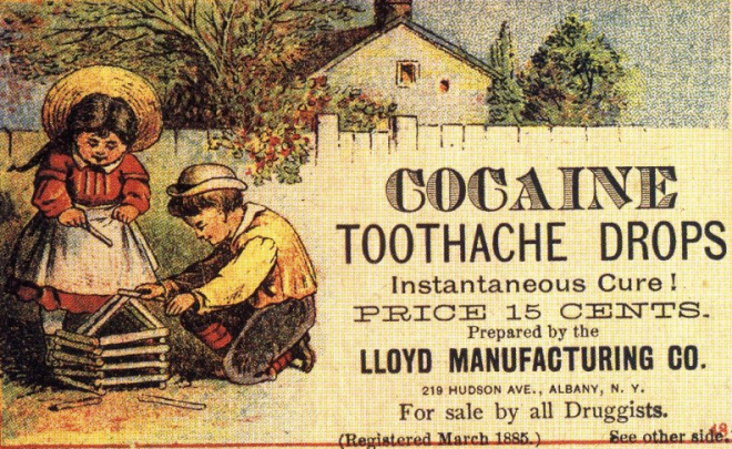 Cocaine Toothache Drops Advertisement, 1885.