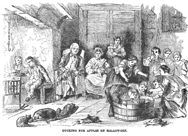 Ducking for Apples on Halloween, illustration from The Book of Days, 1832.