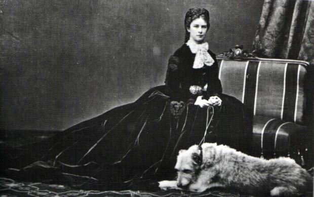 Photo of Empress Elisabeth of Austria with her dog, Shadow, by Emil Rabending, 1866.