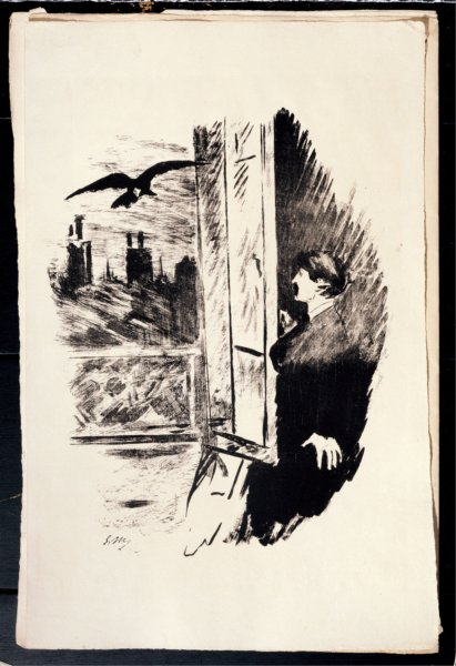 Etching for Edgar Allan Poe's The Raven by Édouard Manet, 1875.