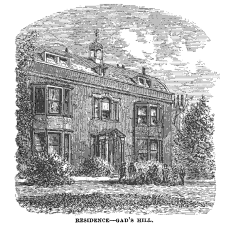 Gad's Hill, Charles Dickens Residence. (Image via Dickens a Sketch of his Life and Works, 1870.)