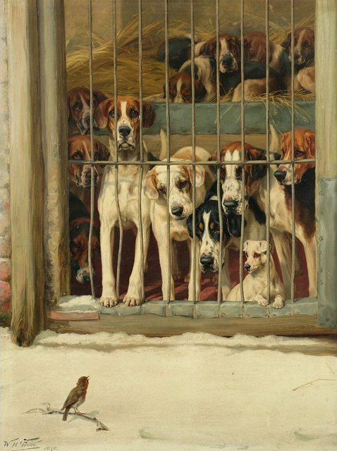 Hounds in a Kennel by William Henry Hamilton Trood, 19th century.