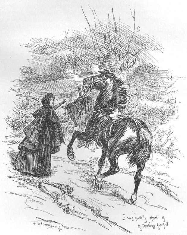 Jane Eyre believes she has encountered a Gytrash.Illustration by F. H. Townsend, 1868-1920.