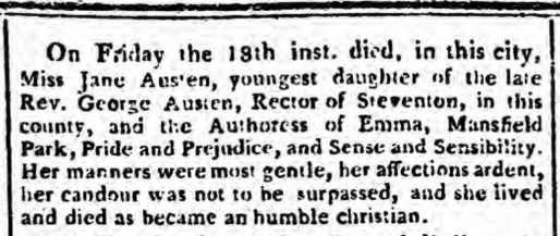 Jane Austen Obituary Salisbury and Winchester Journal - Monday 28 July 1817