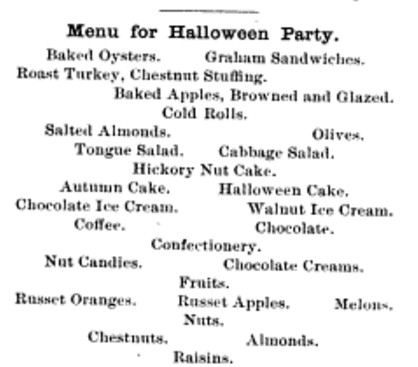 Menu for a Halloween Party from Ingalls Home and Art Magazine, 1891.