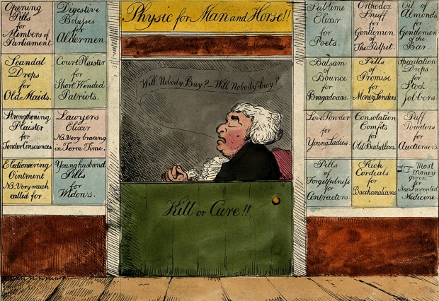 Quack Doctor Open for Business by G.M. Woodward, 1802.(Image courtesy of Wellcome Trust)