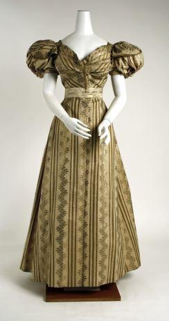 1828 British Silk Ball Gown.(Image via Met Museum.)