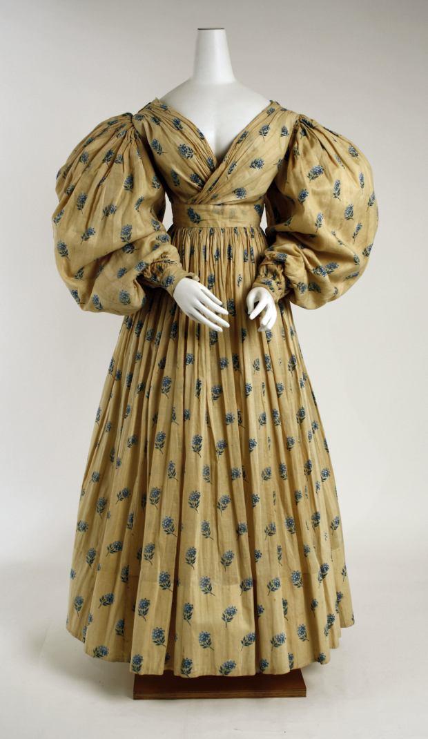1829 British Cotton Dress.<BR<(Image via Met Museum)