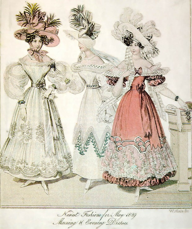 May 1829 Morning and Evening Dresses.(World of Fashion)