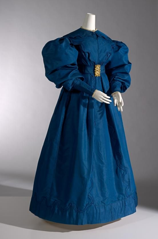 1830 British, Blue Silk Carriage Dress. (Image via National Gallery of Victoria, Melbourne)
