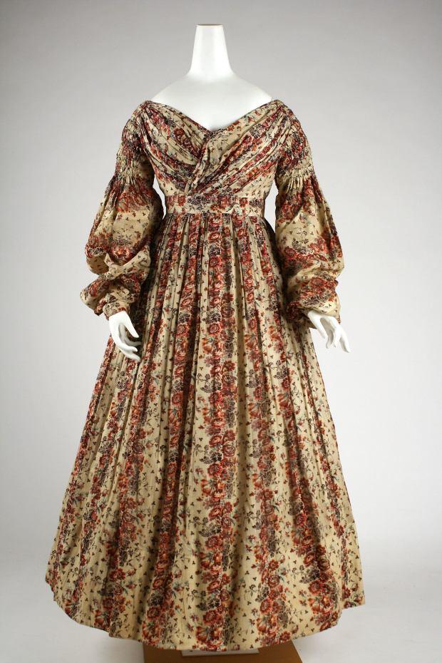 1835-36 American or European Cotton Dress. (Image via Met Museum)