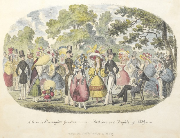 A scene in Kensington Gardens, or fashion and frights of 1829 by George Cruikshank, 1829.(Image via The British Library)