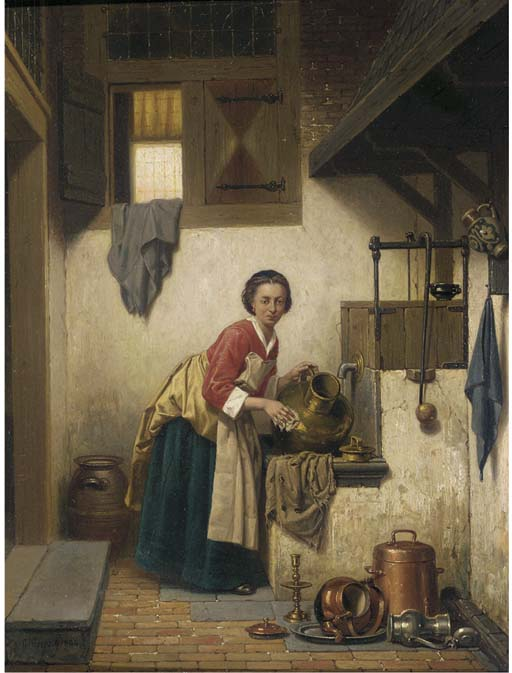 A Scullery Maid at Work by Charles Joseph Grips, 1866.