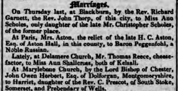 Chester Courant, Cheshire, England, May 13, 1823.