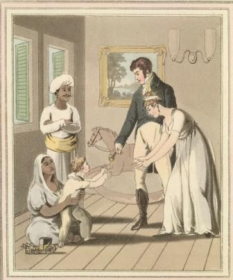 European lady and her family attended by an ayah. The costume and customs of modern India , 1824. (Image via Britishlibrary.typepad.co.uk).