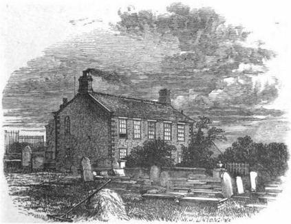 Haworth Parsonage, home of the Brontës. (Image via The Life of Charlotte Brontë by Elizabeth Gaskell, 1857.)