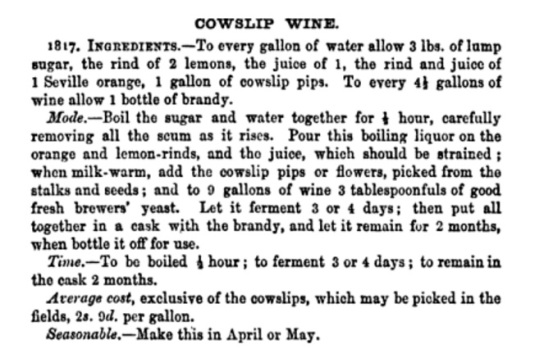 Recipe for Cowslip Wine from Beeton's Book of Household Management, 1861.
