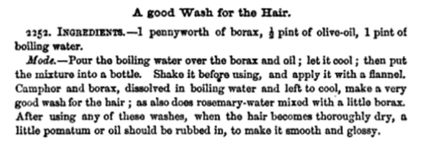 Recipe for Hair Wash from Beeton's Book of Household Management, 1861.