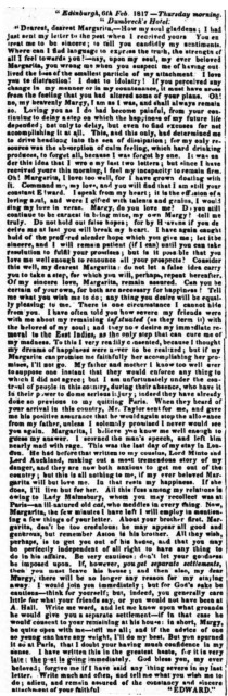 One of Edward Elliott's Letters to Mrs. Aston, Bell's Weekly Messenger, Dec 20, 1818.