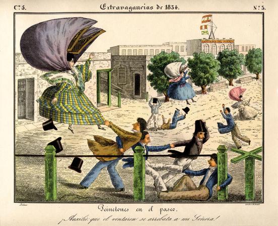 Peinetones en el paseo by César Hipólito Bacle, lithograph, 1834.