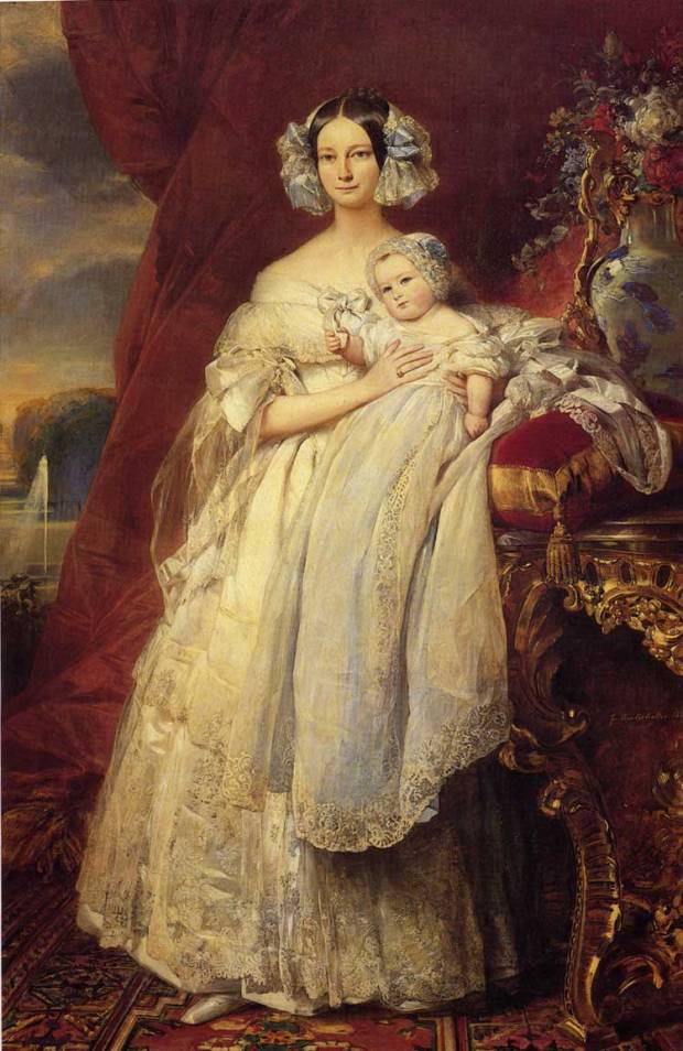 Portrait of Helena of Mecklemburg-Schwerin, Duchess of Orleans with her son the Count of Paris by Franz Xaver Winterhalter, 1839.