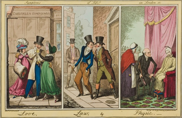 Symptoms of Life in London, or Love, Law, and Physic by George Cruikshank,, 1821.(image via Wellcome Library.)