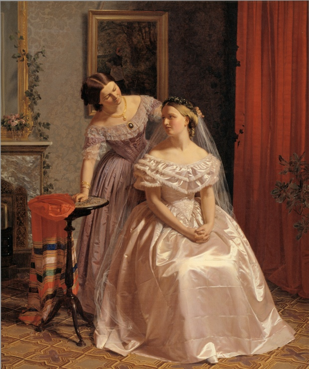 The Bride Adorned by Her Friend by Henrik Olrik, 1850.