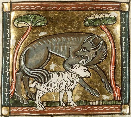 Wolf after sheep, Bestiario Medieval.