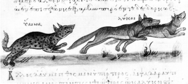 Wolves from Oppian of Apamea Cynegetica, 10th Century.