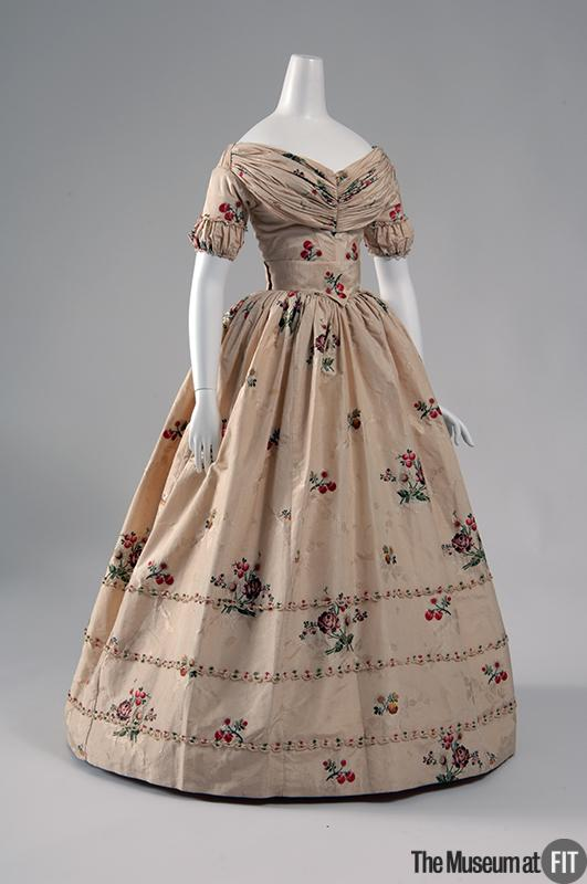 1840 Gown of Repurposed Ivory Spitalfields Silk .(Image via Museum at FIT)