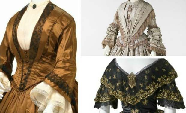 Individual Images of Gowns via National Gallery of Victoria, Met Museum, & LACMA.