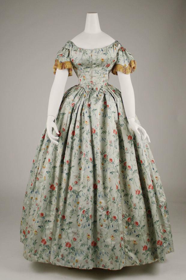 1850s French Silk Evening Dress.(Image via Met Museum)