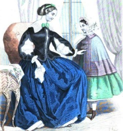 Illustration of Gown with Open Sleeves, Godey's Lady's Book, 1855.