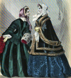 Illustration of Gowns, Godey's Lady's Book, 1855.
