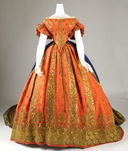 1857-1860 Italian Silk and Gold Court Ensemble(Image via Met Museum)