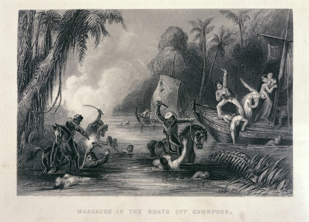 1857 Massacre in the Boats off Cawnpore by Charles Ball, 1858.