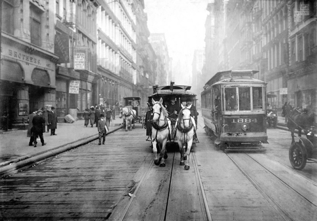 A Horsecar and an Electric Streetcar, New York.